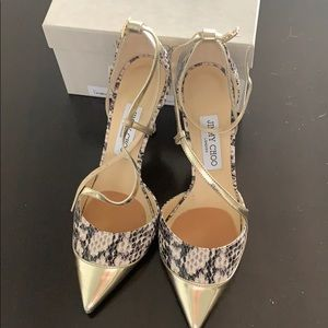Jimmy Choo snake and gold pumps size 38